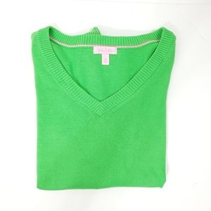Lilly Pulitzer Bright Green V-Neck Sweater